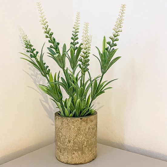 Tall Faux Flower in Stoneware Pot