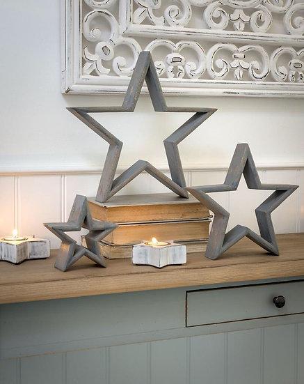 Grey Mantelpiece Stars - Set of 3