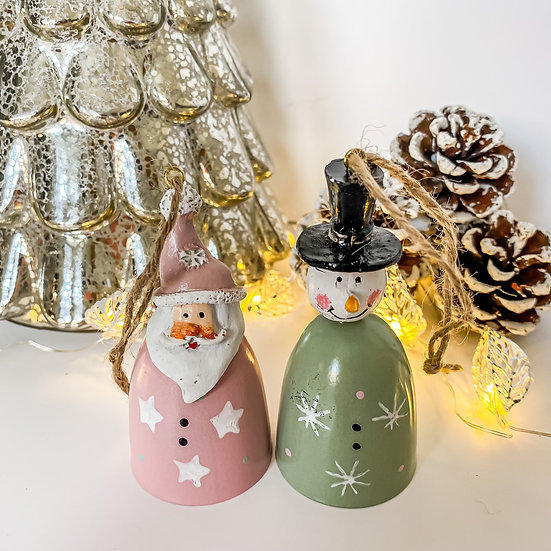 Snowman and Santa Hanging Bell Decoration