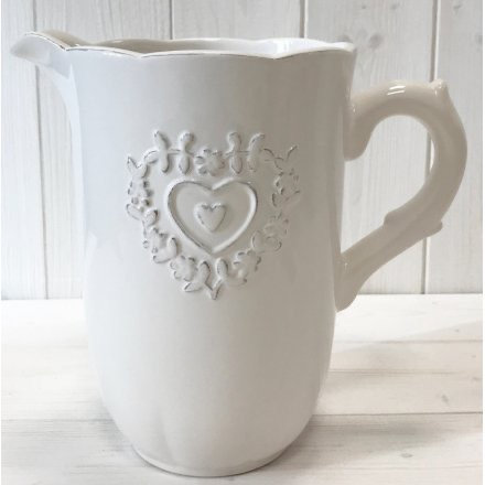 Heart Embossed White Ceramic Jug