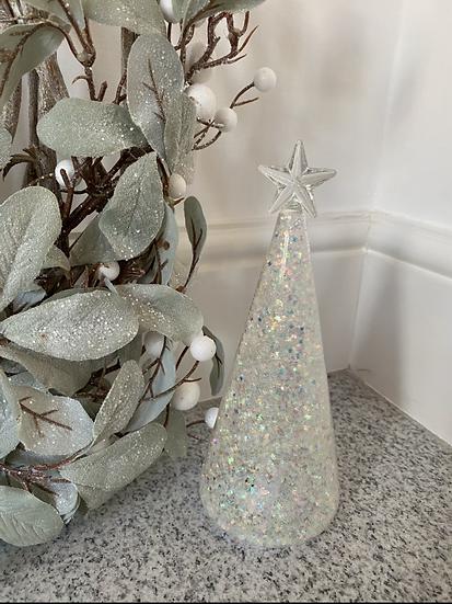 Glass Glitter LED Tree