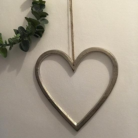 Silver Nickel Hanging Heart