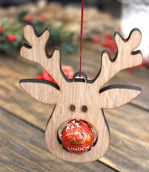 Reindeer Chocolate Nose Ornament - Set of 2