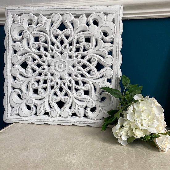 White Ornate Wall Plaque