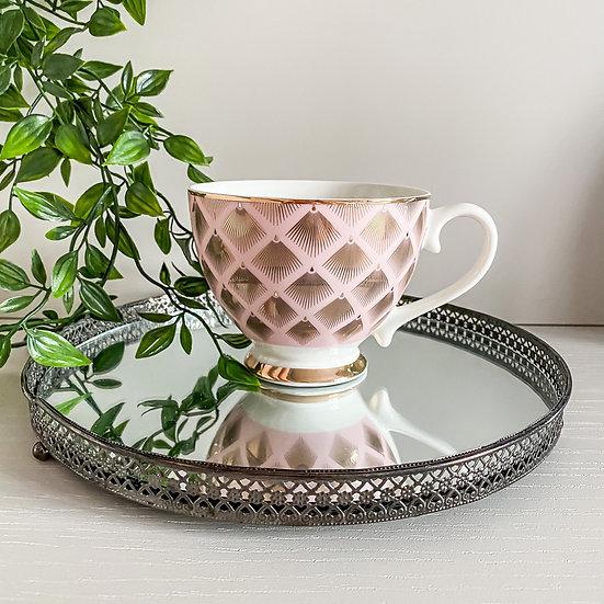 Art Deco Glam Teacup - Fan Dot Design