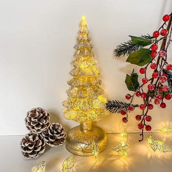 Pearly Gold Glass LED Tree with diamante