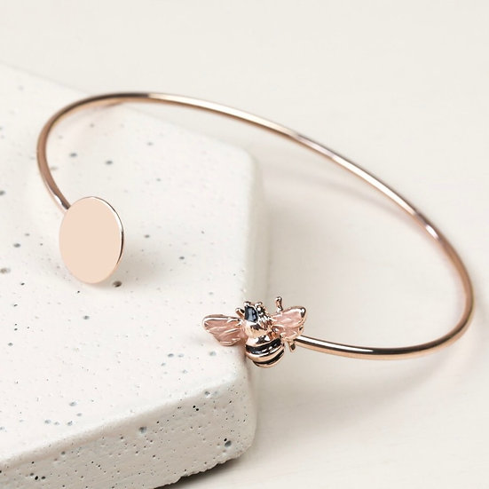 Bee Disc Bangle - Rose Gold & Silver