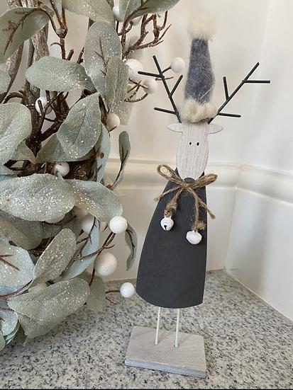 Jeff the Grey Wooden Reindeer