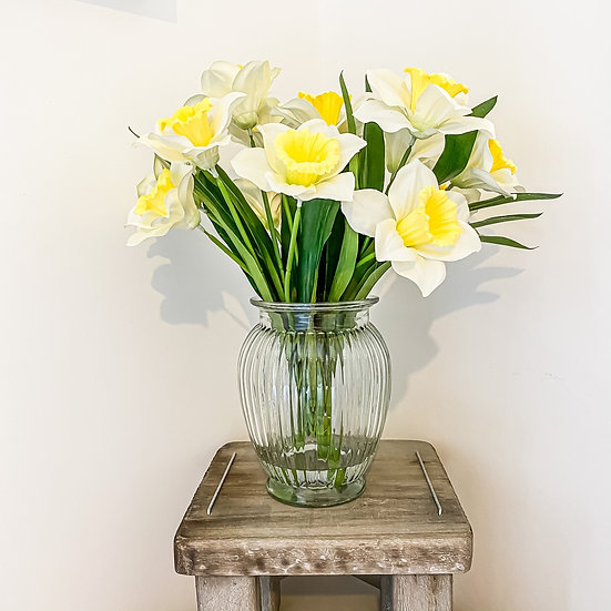 Large Daffodil Bunch with Ribbed Vase