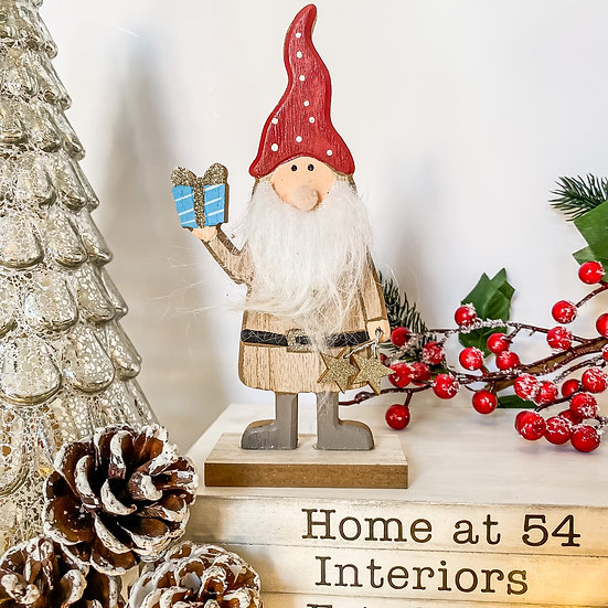 Wooden Standing Santa with Present