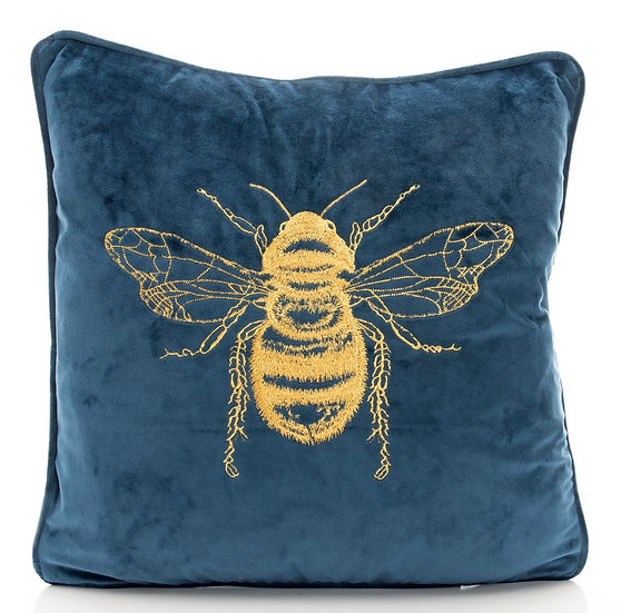 Navy Embroidered Bee Cushion