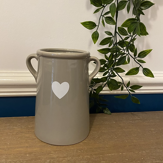 Grey Vase with Heart Decal 17cm