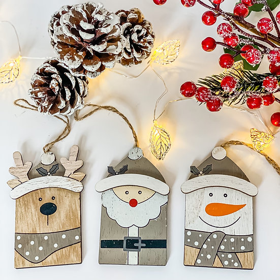 Set of 3 Wooden Tree Decorations