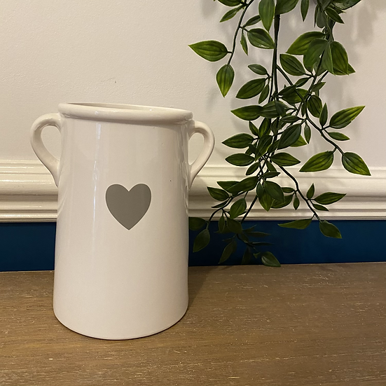 White Vase with Heart Decal 17cm