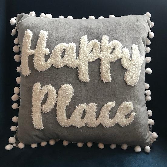'Happy Place' Pom Pom Cushion