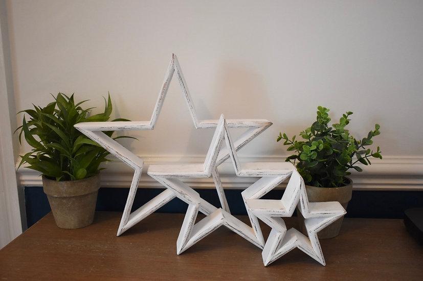 White Mantelpiece Stars - Set of 3