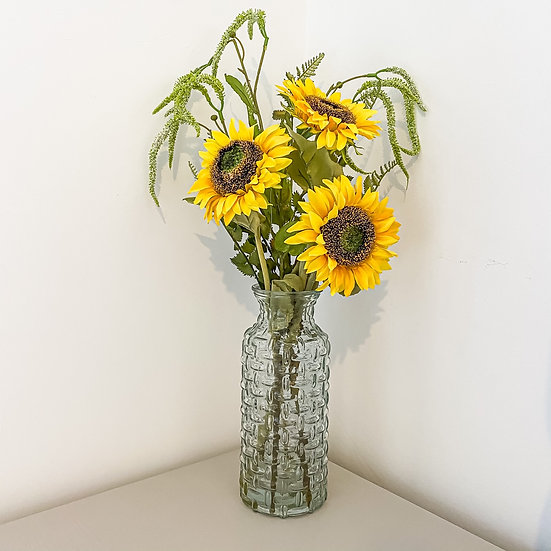 Sunflower and Catkin Bunch with Woven Vase