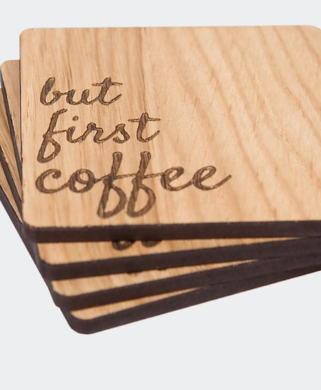 'But First Coffee' Coasters - Set of 4