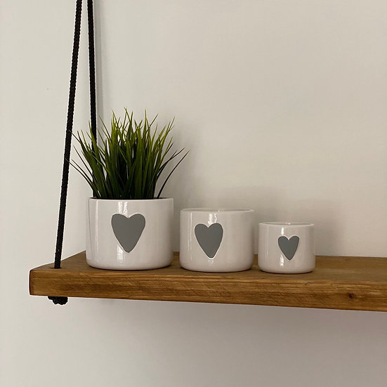 White Heart Pots - Set of 3