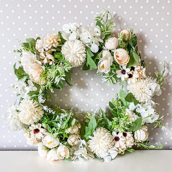 Cream Mixed Flower Wreath