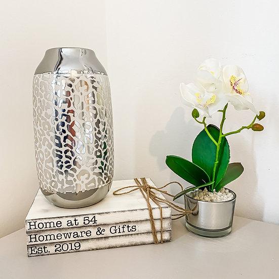 Silver Leopard Vase