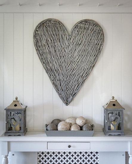 Grey Wicker Heart