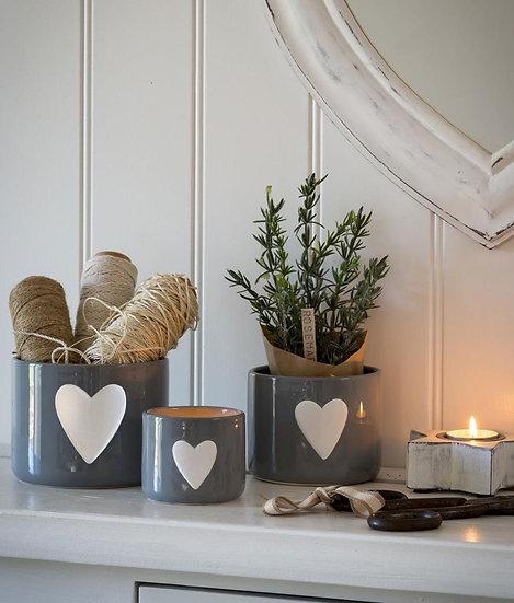 Grey Heart Pots - Set of 3