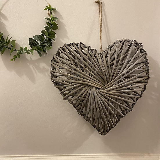 Grey Wash Rattan Heart - 40cm