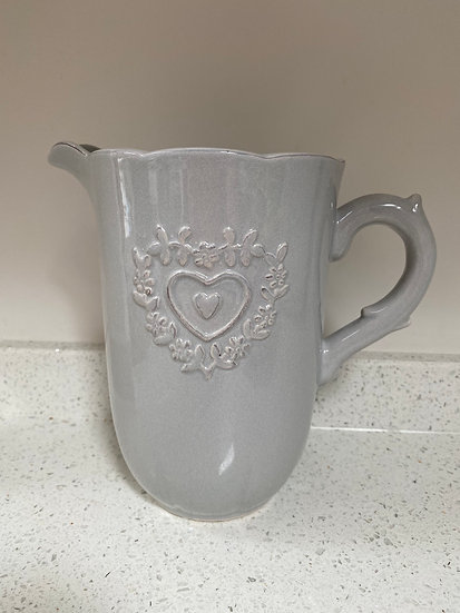 Heart Embossed Grey Ceramic Jug