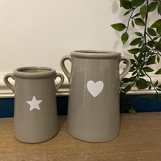 Grey Vase with Star Decal 14cm