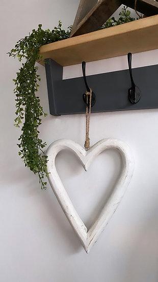 Large Shabby White Hanging Heart