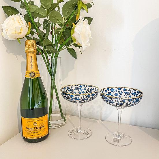 Set of 2 Leopard Print Cocktail Glasses