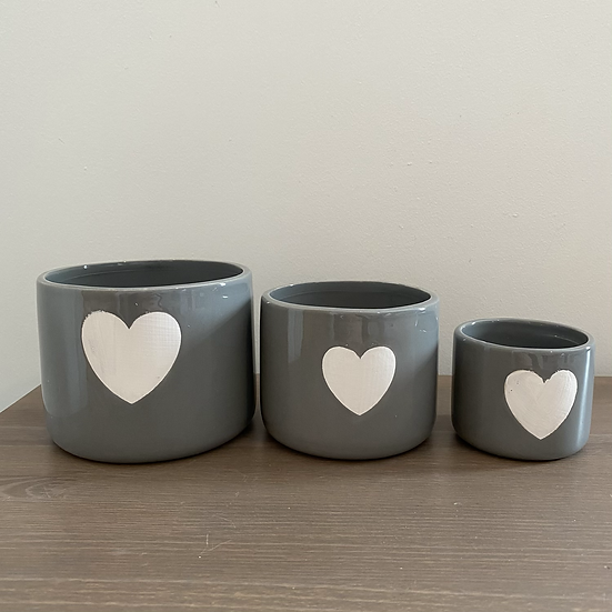 Perfectly Imperfect Grey Heart Pots - Set of 3