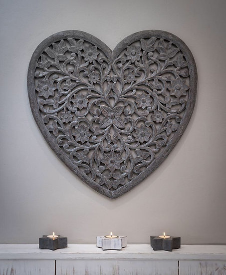 Hand Carved Wooden Heart Panel