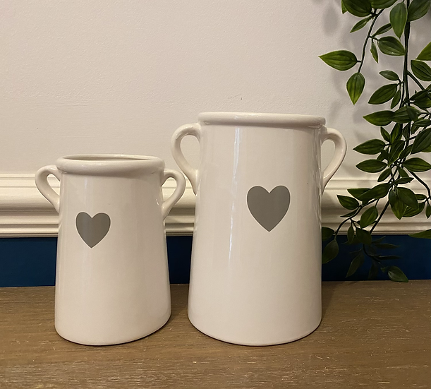 White Vase with Heart Decal 14cm