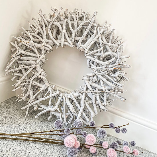 Large Pale Grey Twig Wreath