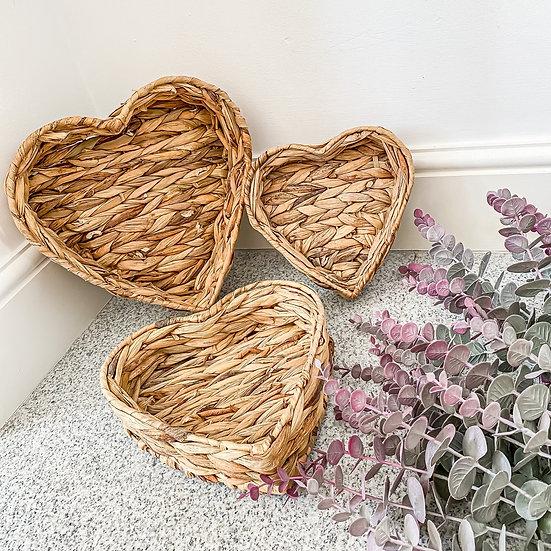 Woven Heart Trays - Set of 3