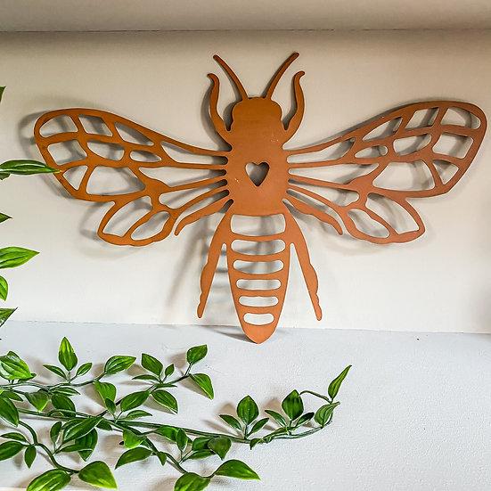 Rust Bee Wall Plaque