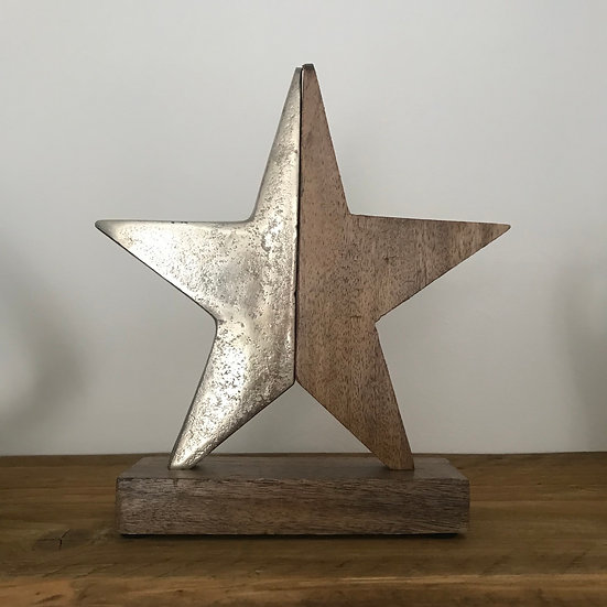Aluminium & Mango Wood Mantel Star