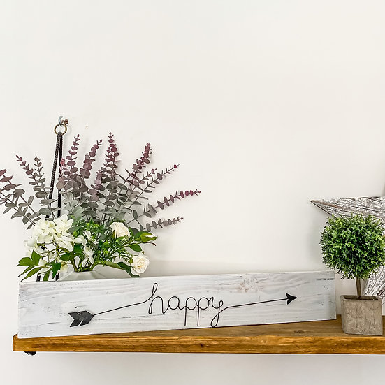Wood and Wire 'Happy' Sign