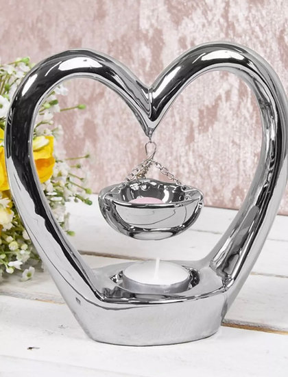 Silver Hanging Heart Wax Burner