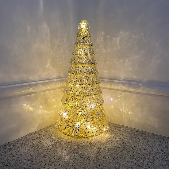 Glass Speckled LED Centrepiece Tree Small