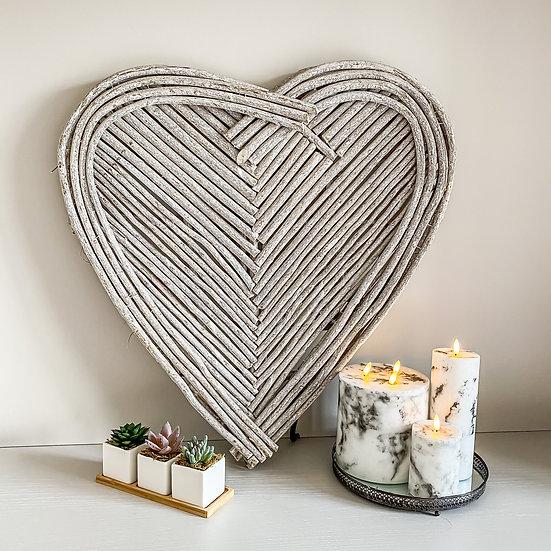 Large Chunky Wicker Grey Heart