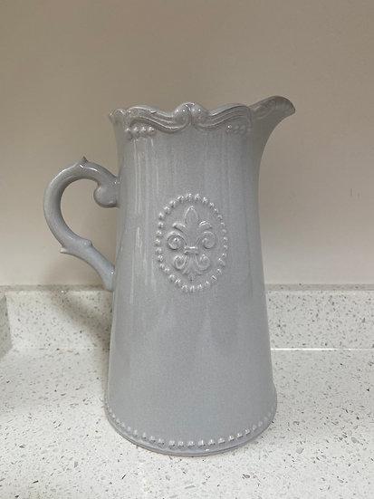 Flour De Lis Grey Ceramic Jug