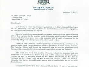 A letter from Assemblymember Nicole Malliotakis for St. John's 170th Anniversary