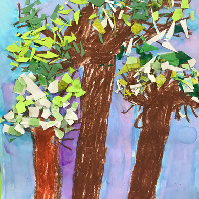 Tree: drawing, painting and collage