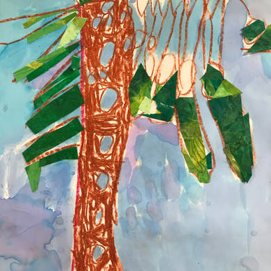 Tree: drawing, painting, collage