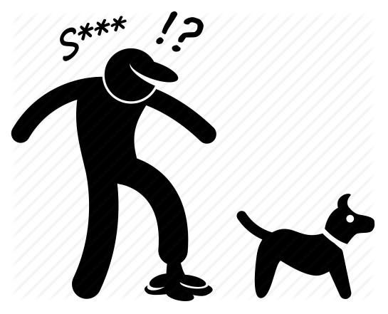 Man stepping in dog poop