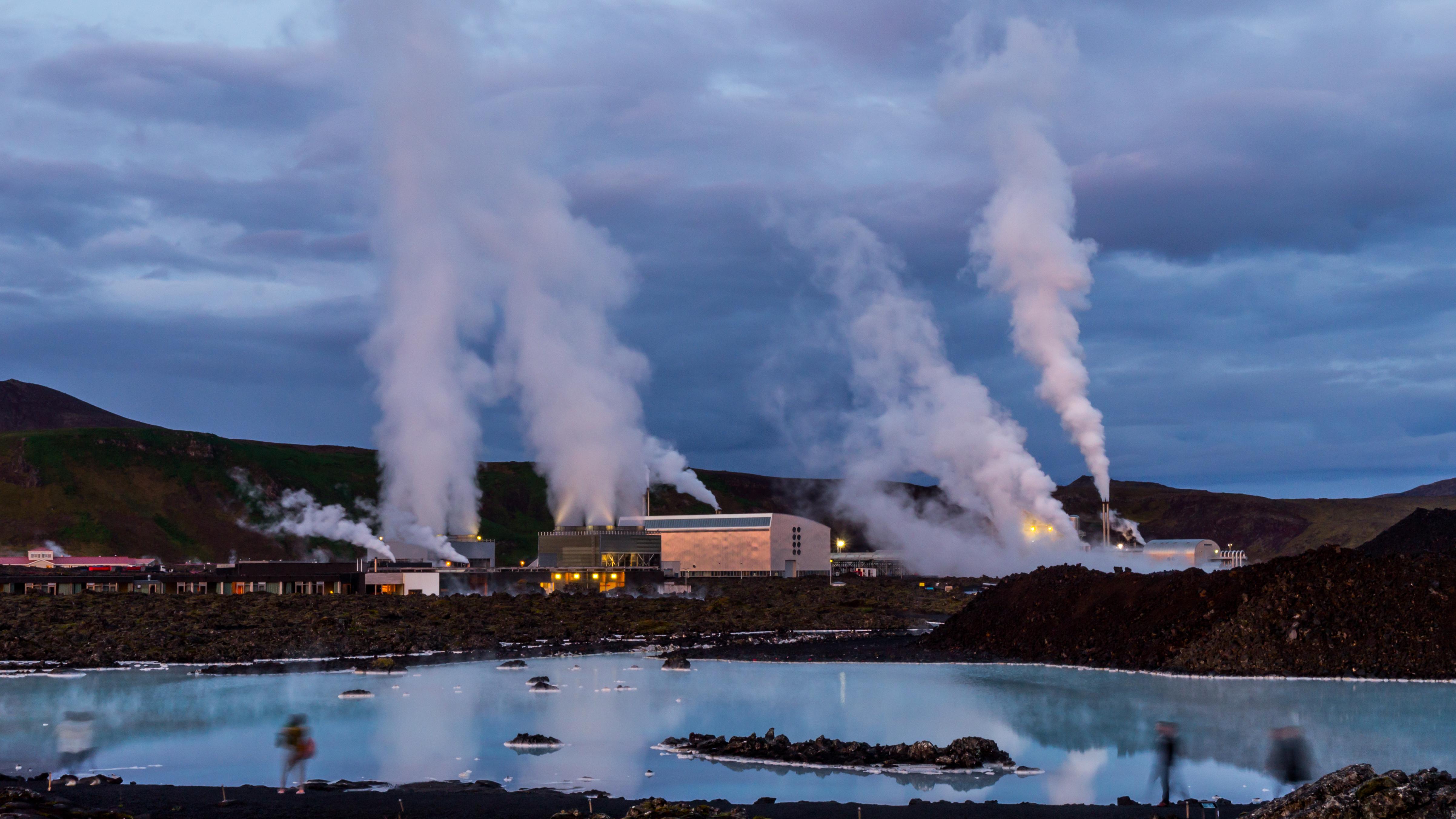 Svartsengi Geothermal Power Plant in Ice