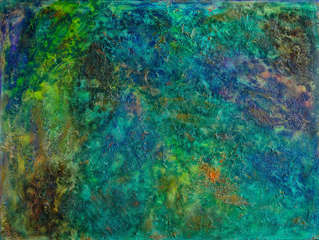 Celeste #9 |  large 3' x 4' textured piece with color blends of: green, blue, purple and orange